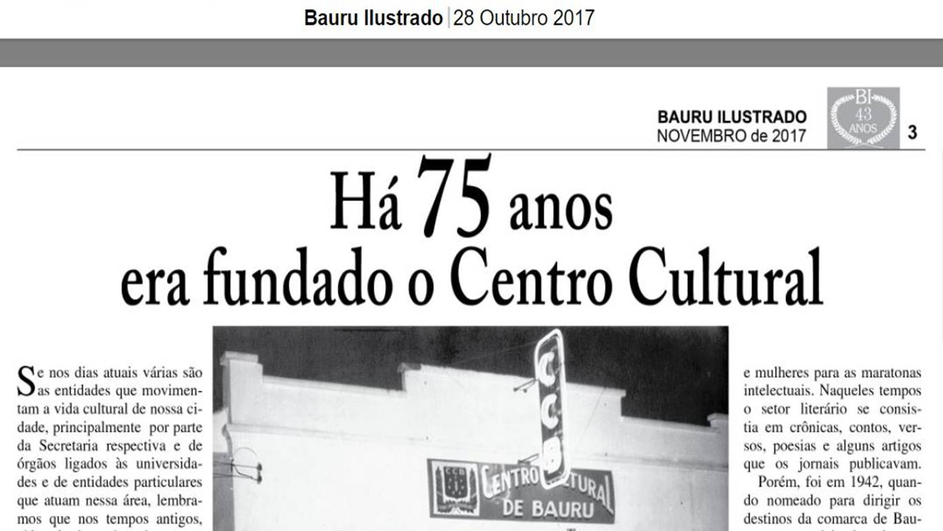 Há 75 anos  era fundado o Centro Cultural